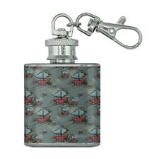 Happy Smiling Sail Boats Pattern Stainless Steel 1oz Mini Flask Key Chain