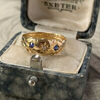 Edwardian Paste Sapphire & Old Cut Diamond 18ct Gold Dress Ring, dates 1907