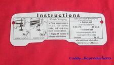 1966 Cadillac Jack Instruction Sheet / Tag