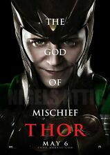 LOKI GOD of  MISCHIEF  THOR  A4  printed movie poster