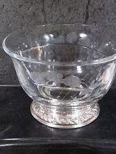 Alvin Vintage Floral Etched Glass & Sterling Based DIVIDED RELISH OR CANDY BOWL