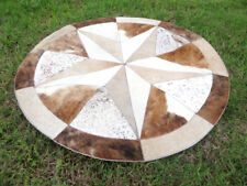 "Star Cowhide Rug Cow Hide Skin Carpet Leather Round patchwork S88 area 40"" rugs"