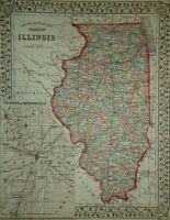 Vintage 1874 ILLINOIS MAP Antique Original & Authentic Atlas Map - Free S&H