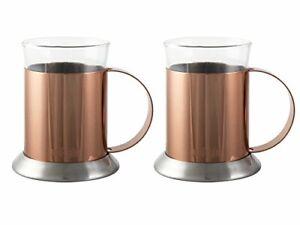 La Cafetiere Set Of 2 Copper-Finish Glass Cups, 200ml (7 fl oz)