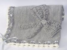 STYLISH NEW Grey/Cream Hand Knitted Crochet Bring Home Baby Blanket Cot Handmade