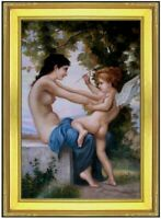 Framed Bouguereau Girl Defending Herself Hand Painted Oil Painting Repro 24x36in