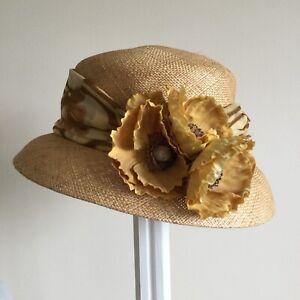 Ladies Accessorize Summer Straw Hat with Yellow Flower & Scarf Trim.