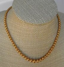"Vintage Costume GOLD PEARL BEAD STRAND NECKLACE 16"" Vintage Lot G9"