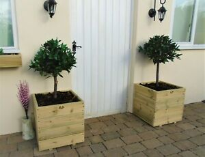 Square Wooden Treated Decking Planters Pots Various Sizes - Window Box
