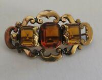 Antique Victorian cut glass Pinchbeck brooch