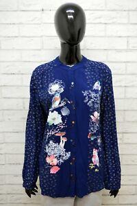 Camicia Donna Desigual Taglia L Maglia Blusa Blu Viscosa Shirt Woman Casual
