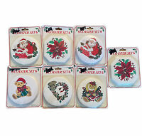 Vintage Paper Coasters Package 7 Of 6 Santa Claus Christmas Poinsettia