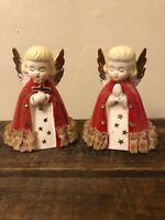 """Pair 4"""" Vintage Angels Figurine with Cross And Praying Gold Trim. Made in Japan."""