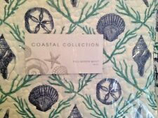 COASTAL F/ QUEEN 3PC Quilt Set  SEA SHELL STARFISH CORAL SAND DOLLAR Blue Green