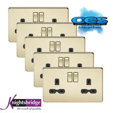 Knightsbridge Screwless Flatplate 2 Gang 13A Switch Socket Polished Brass 5 PACK