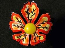 Vintage 1960 -70's Enamel Flower Pin Brooch Multi-Color Petals So Retro!