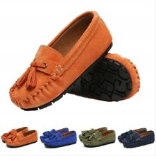 Boys' Unisex Occasion Wear Shoes Royal Blue Leather Suede Tassel Loafers Kids