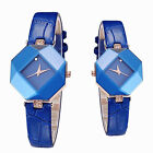 Ladies Big rhinestone wristwatch Irregular Shape watch gold plated