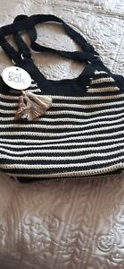 The Sak crochet bag handbag shoulder bag black and light beige striped NEW