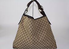 GUCCI Pelham Horsebit Handbag Monogram Canvas & Leather Large Hobo Bag
