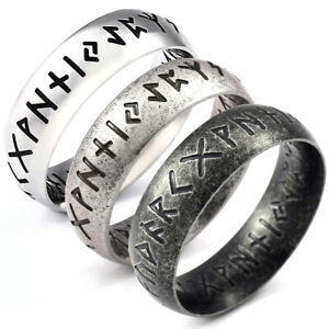 Viking Rune Stainless Steel Vintage Celtic Norse Ring (Size P - Z)