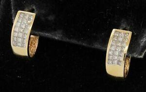 14K yellow gold 1.26CT VS Princess cut diamond curved earrings