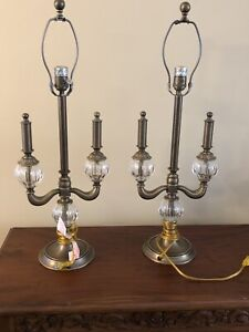 Pair of Vintage Bombay Company Brass & Crystal Table Lamps Ornate 29""