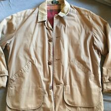Mens J Crew Flannel Lined Barn Coat Canvas Field Jacket Size Large L