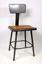 Vintage METAL Industrial AGE Shop Factory Stool Chair STEAMPUNK SQUARE SEAT