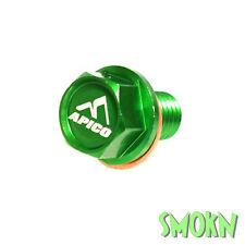 Apico Magnetic Sump Drain Bolt Kawasaki KX 65 85 100 125 250 Billet Alloy Green
