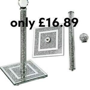 Crushed Diamond Silver Crystal Filled Kitchen Roll Holder 32cm Diamante Bling