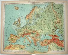 Europe - Original 1915 Physical Map by Kartographia Winterthur SA. Antique