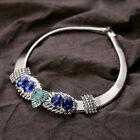 Vintage Chunky Crystal Silver Tone Metal Bib Statement Collar Choker Necklace