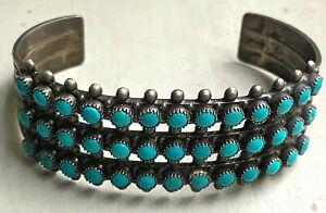 Vintage 3- ROW ZUNI SILVER AND TURQUOISE PETTIPOINT BRACELET, c. 1920-40s