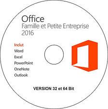 Office Famille et Petite Entreprise 2016 32/64 bit installation sans licence