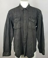 Calvin Klein Jeans Men's Size XL Acid Wash Black Shirt Skull Key Snap Front LS
