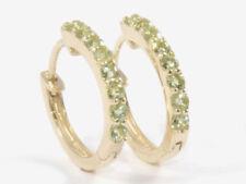 E027 Genuine  9ct YELLOW Gold NATURAL Peridot HUGGIE Earrings Hoops
