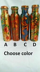 Pure Copper Printed Water Bottle For Ayurveda Health Benefits Leak Proof