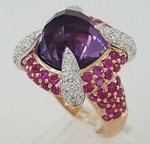 Amethyst, & 3.35 ct Pink Sapphire & Round Diamond 18K Rose Gold Cocktail Ring
