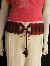 "WOMEN WAIST HIP RED ELASTIC BRAIDED FASHION BELT LONG FRINGES 26""-32"" XS S M"