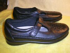 NWOB SAS Willow T Strap Black Smooth Leather Women's 8 M FR/SHP
