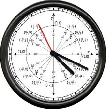 Math Teacher Trigonometry Unit Circle Radian Labeled Angles Values Wall Clock
