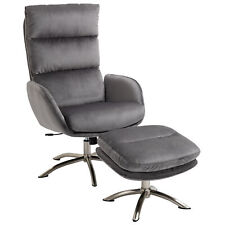 Relaxsessel mit Hocker Fernsehsessel mit Wippenfuntion Stahl Samt Grau+Silber