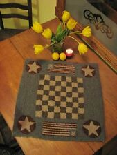 """PRIMITIVE HOOKED RUG PATTERN ON LINEN """"CHECKERBOARD"""""""