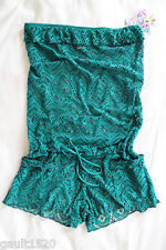 NWT Becca by Rebecca Virtue Strapless Green Crochet Knit Cover Up Romper M L $92