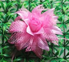 Pink flower ribbon hair clip bow crochet headband accessory for baby gril 001