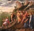 17th CENTURY HUGE ITALIAN OLD MASTER OIL CANVAS - CHRIST & MIRACULOUS CATCH