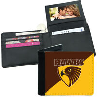 AFL Mens Wallet - Hawthorn Hawks - 12x10cm Fits 10 Card + Notes - Sublimated