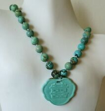 """ANTIQUE VINTAGE CHINESE CARVED NATURAL TURQUOISE PENDANT NECKLACE 104gm 19"""""""