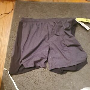 New Men's All In Motion Black Heather Running Shorts Size  L Unlined